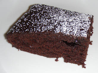 Billede af Blød chokoladekage med chokoglasur